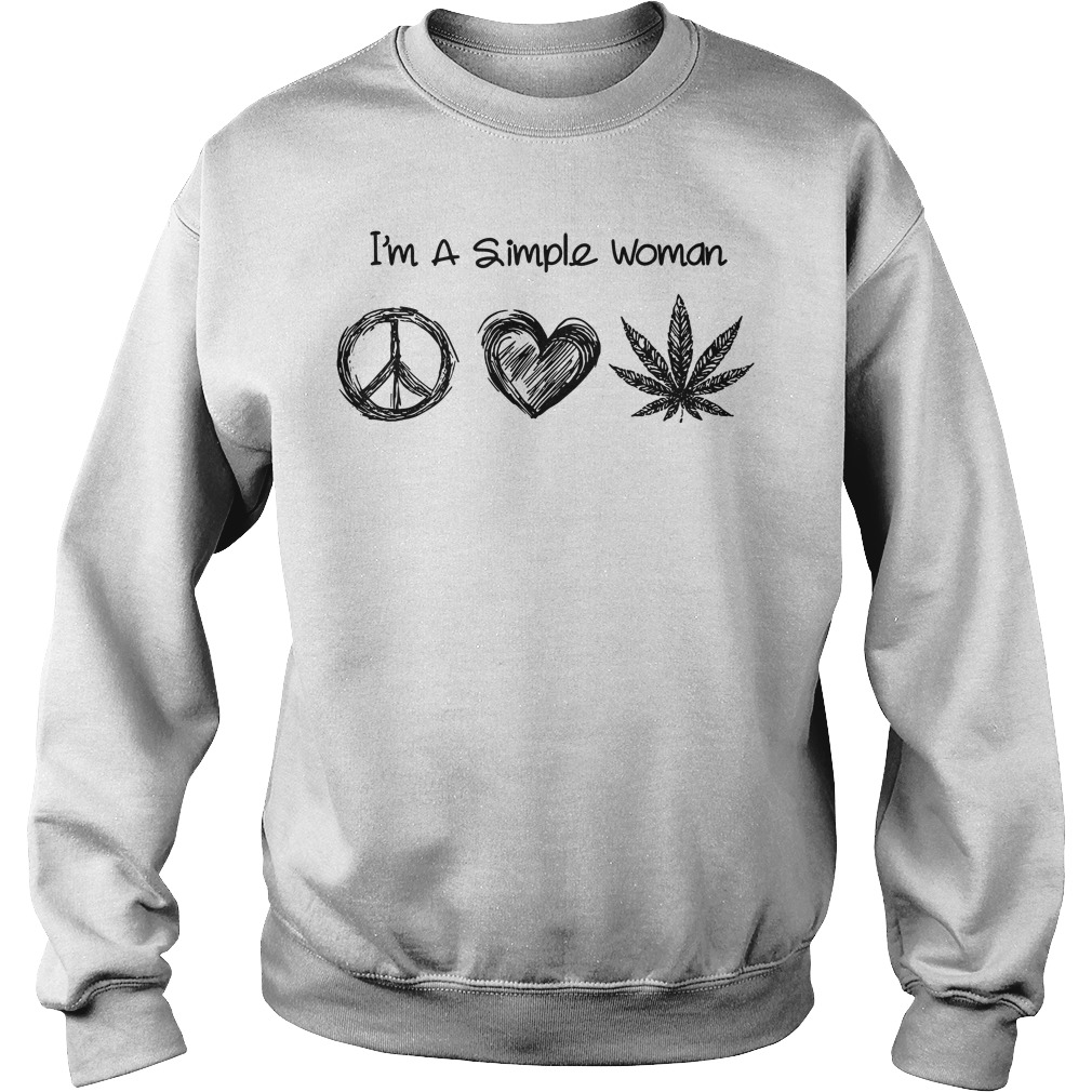 I'm a simple woman I like hippie heart and weed Sweater