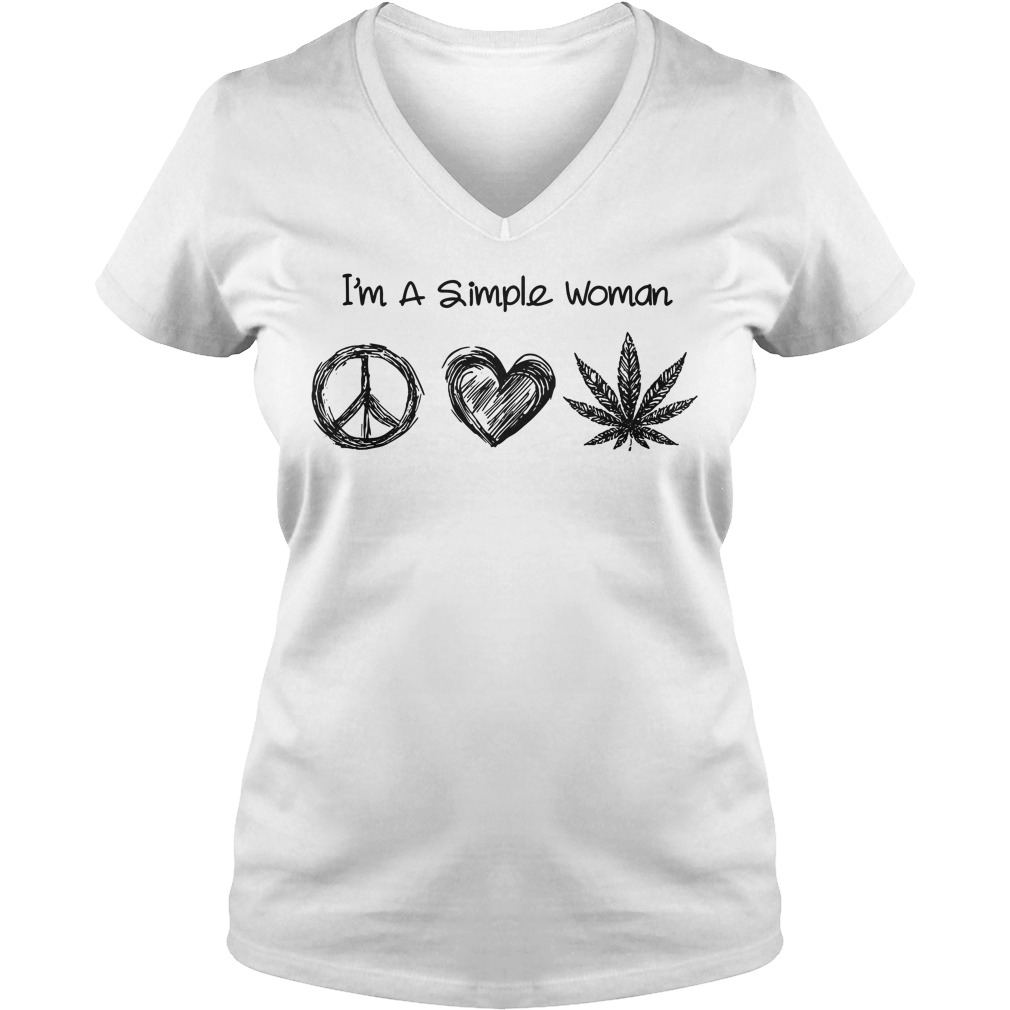 I'm a simple woman I like hippie heart and weed V-neck T-shirt