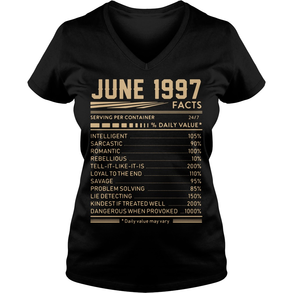 June 1997 facts serving per container 24/7 % daily value V-neck T-shirt