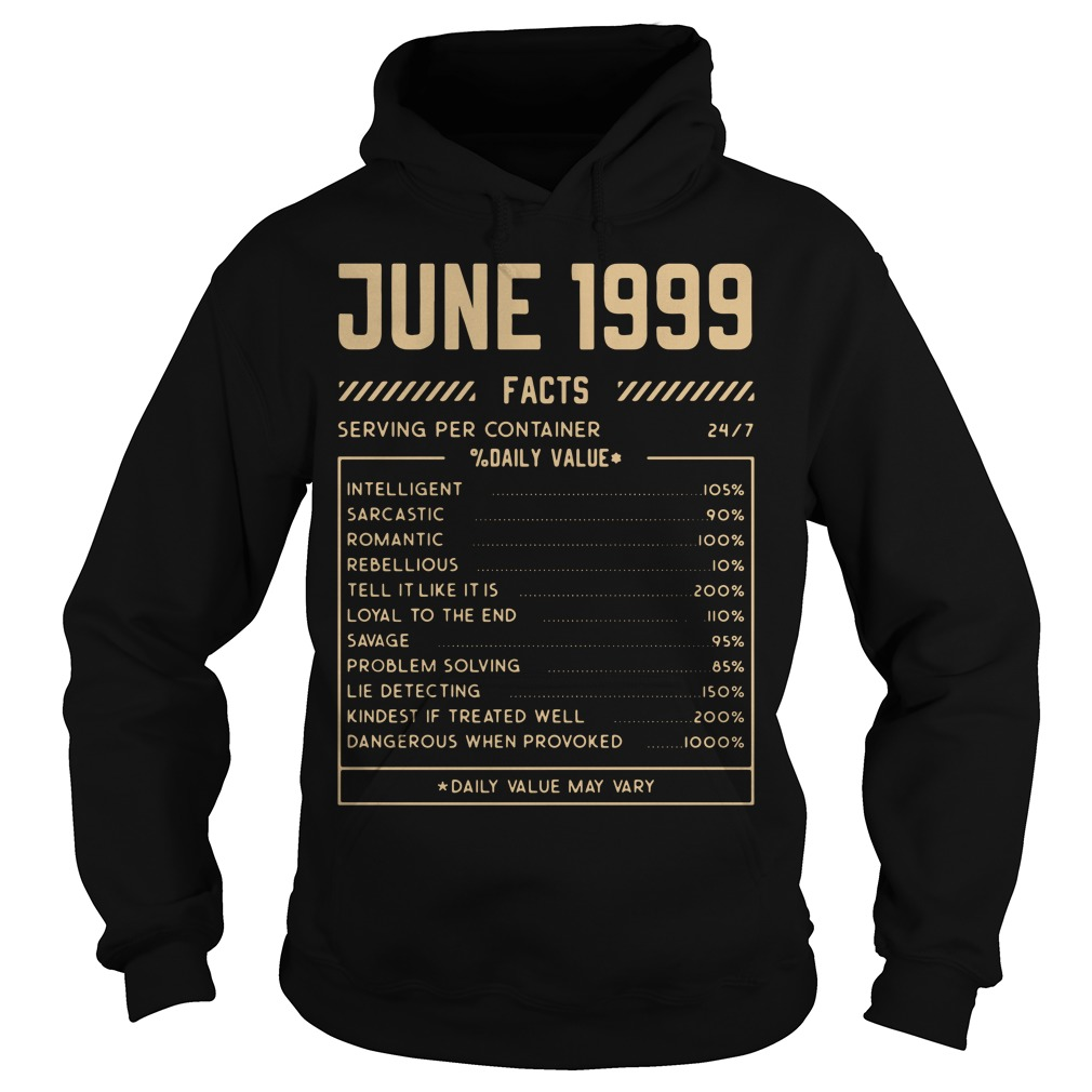 June 1999 facts serving per container daily value Hoodie