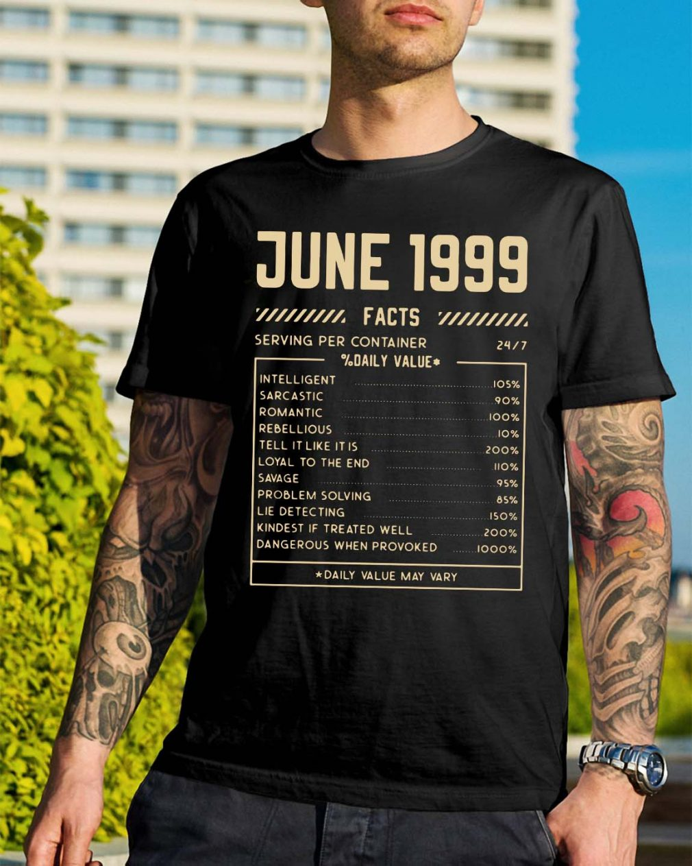 June 1999 facts serving per container daily value shirt