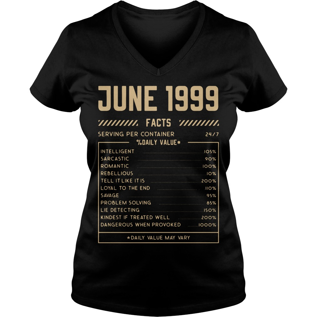 June 1999 facts serving per container daily value V-neck T-shirt