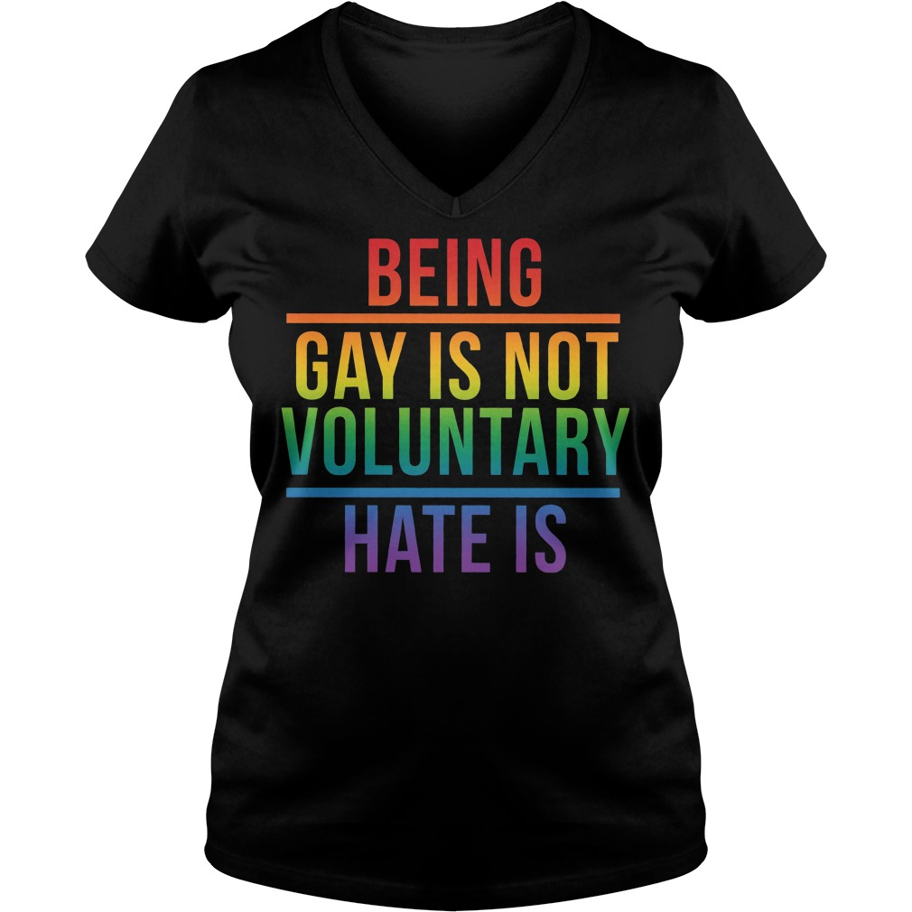 LGBT being gay is not voluntary hate is V-neck T-shirt