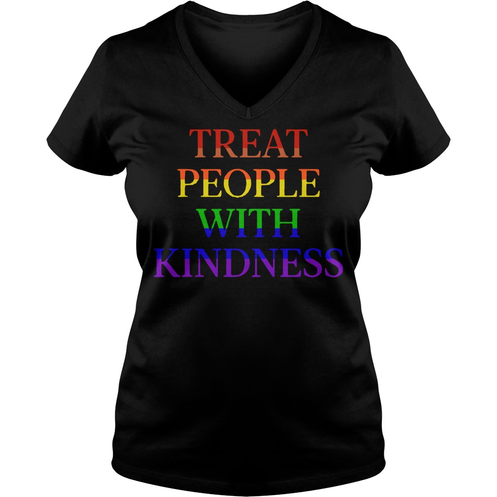 LGBT treat people with kindness V-neck T-shirt