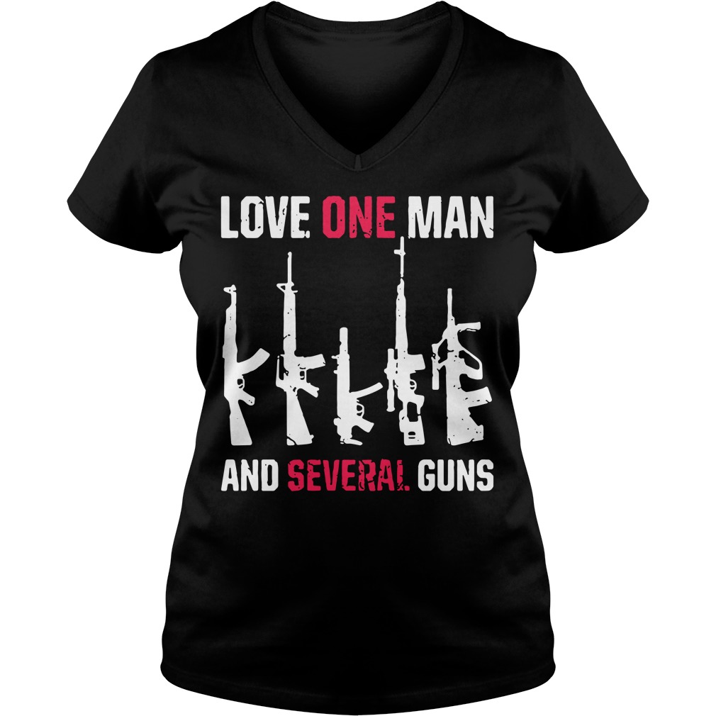 Love one man and several guns V-neck T-shirt