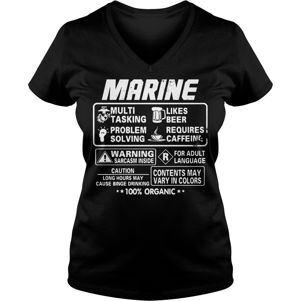 Marine multi tasking likes beer problem solving requires caffeine V-neck T-shirt