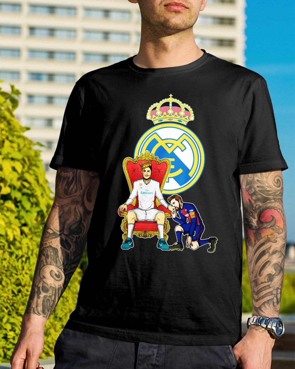Messi Barcelona love Fly Emirates Ronaldo King shirt