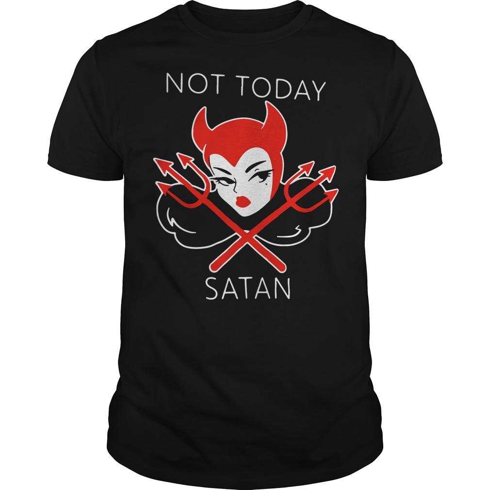 Micheline Pitt not today satan Guys Shirt