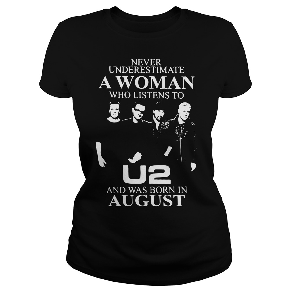 Never underestimate a woman who listens to U2 Ladies Tee