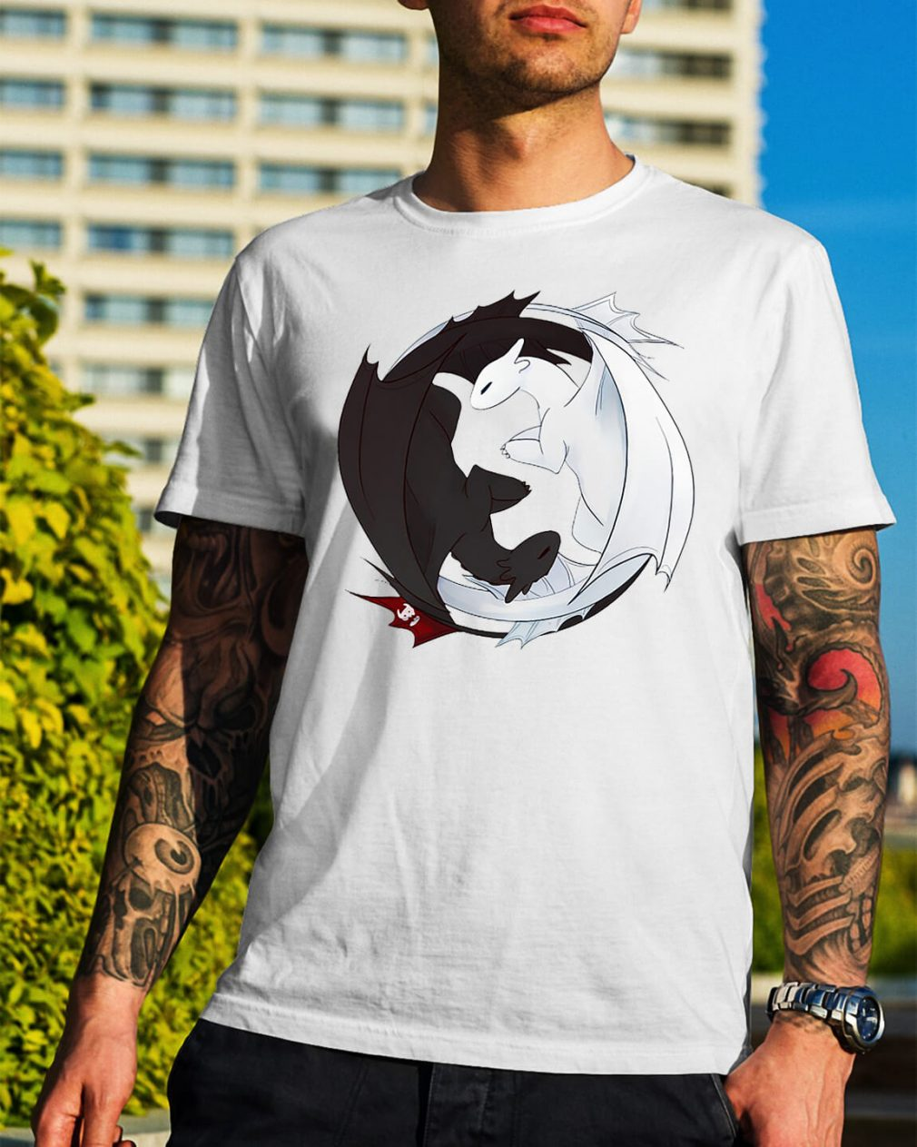 Night Fury and Light Fury dragon shirt