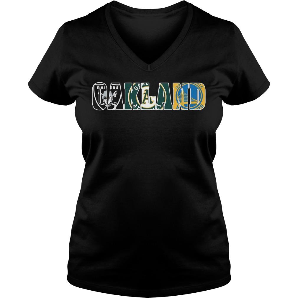 Oakland Raiders Athletics V-neck T-shirt