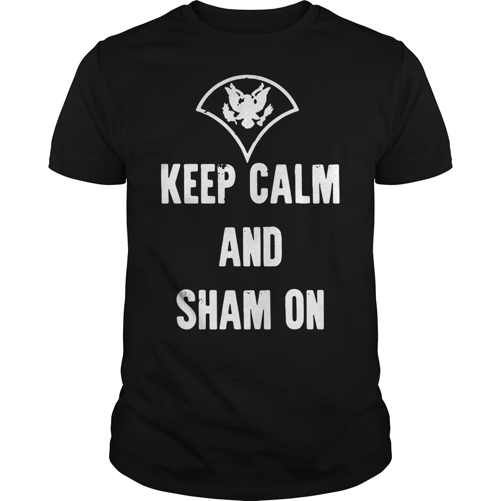 Official Keep calm and sham on Guys Shirt