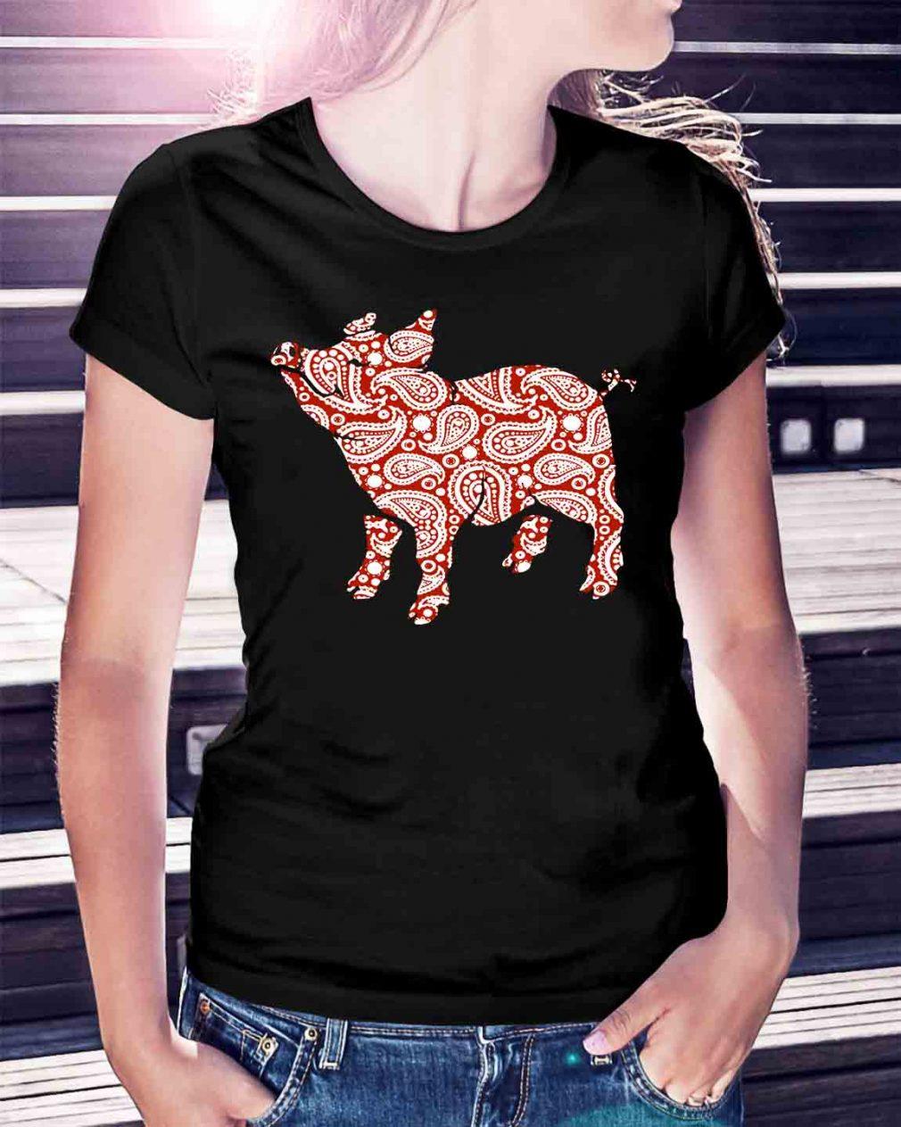 Paisley pig cute shirt