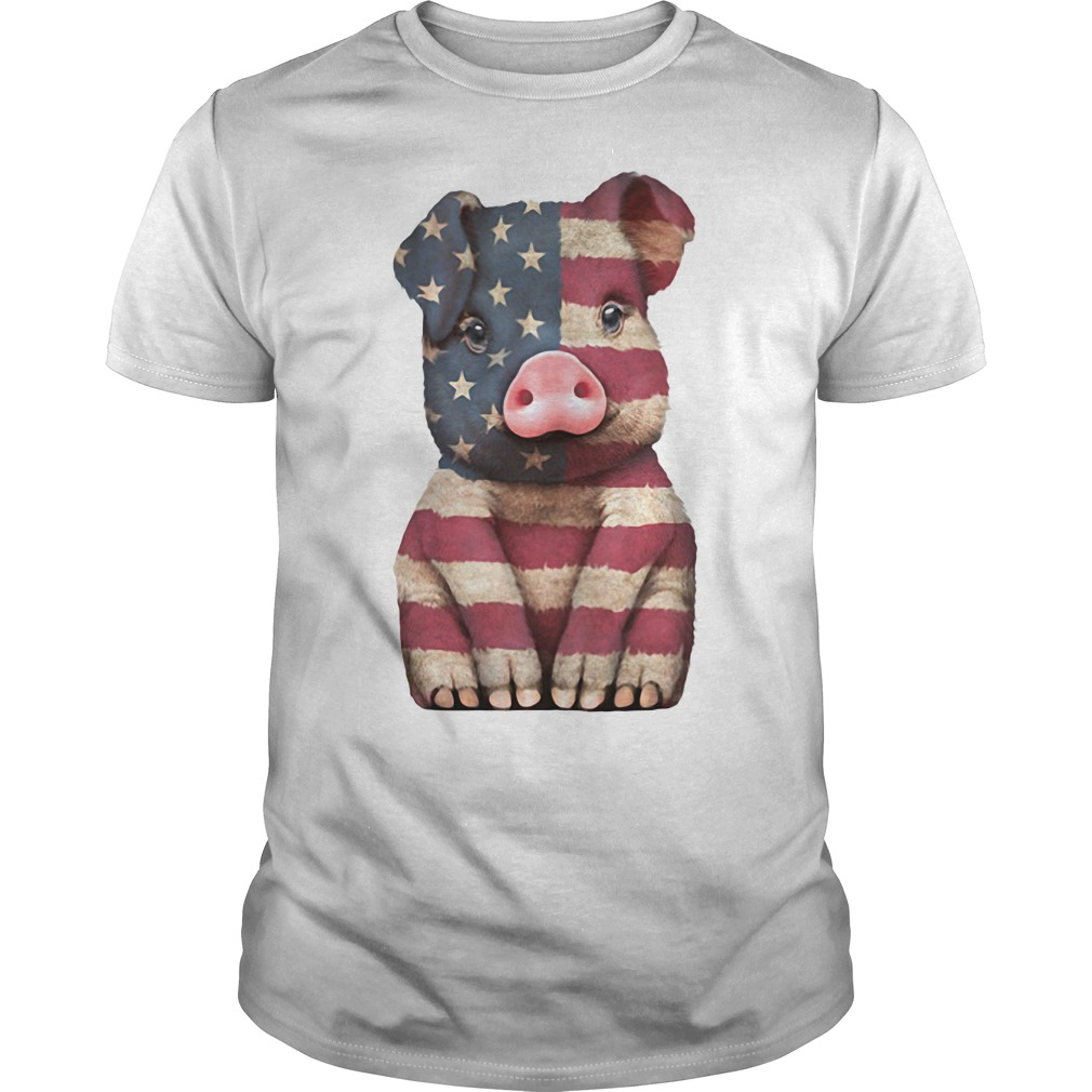 Pig American Flag 4th of July Guys Shirt