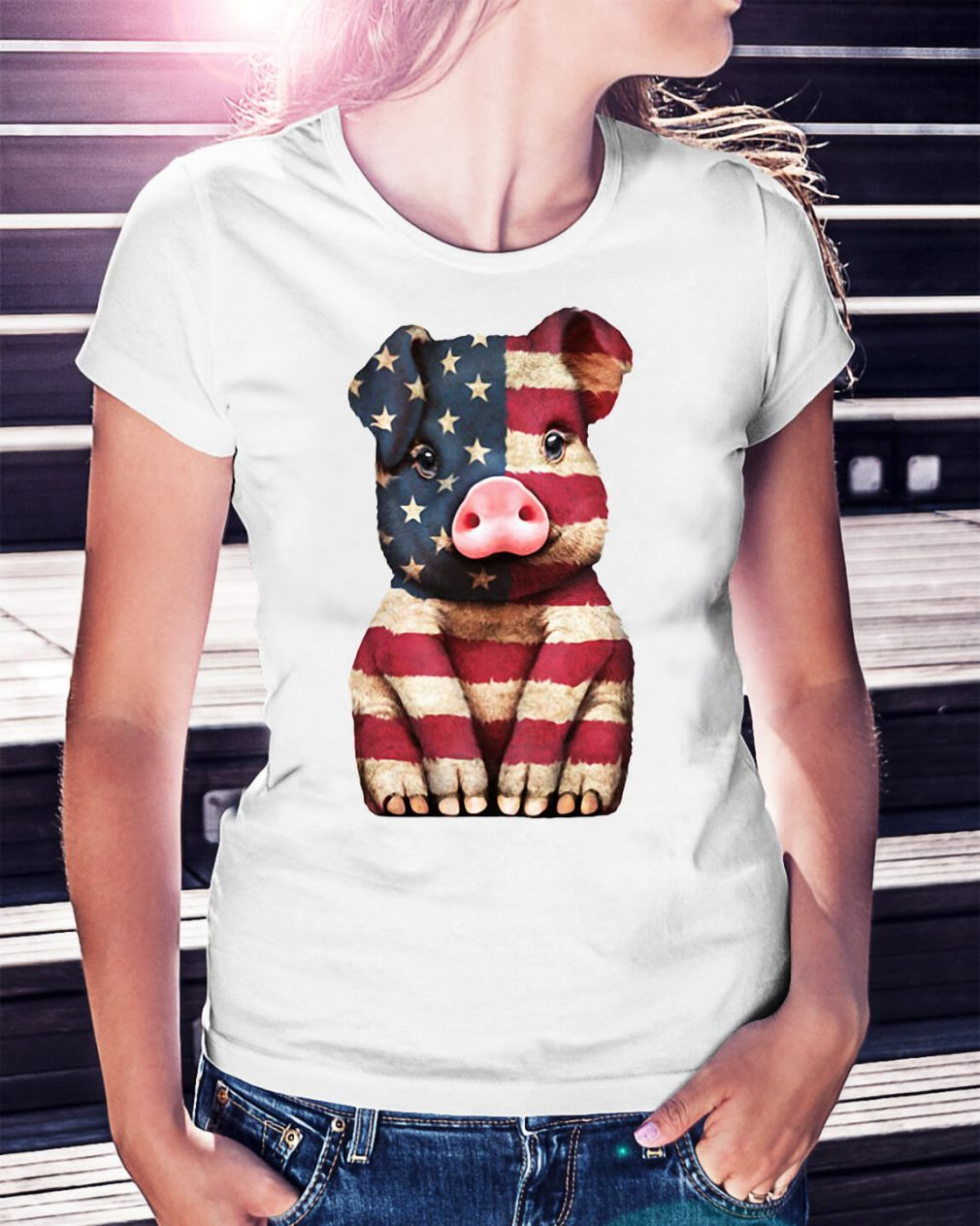 Pig American Flag 4th of July shirt
