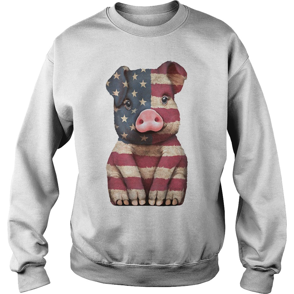 Pig American Flag 4th of July Sweater