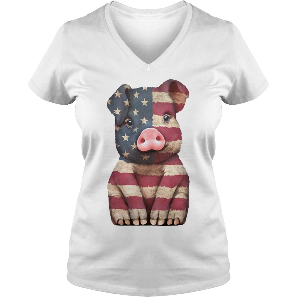 Pig American Flag 4th of July V-neck T-shirt
