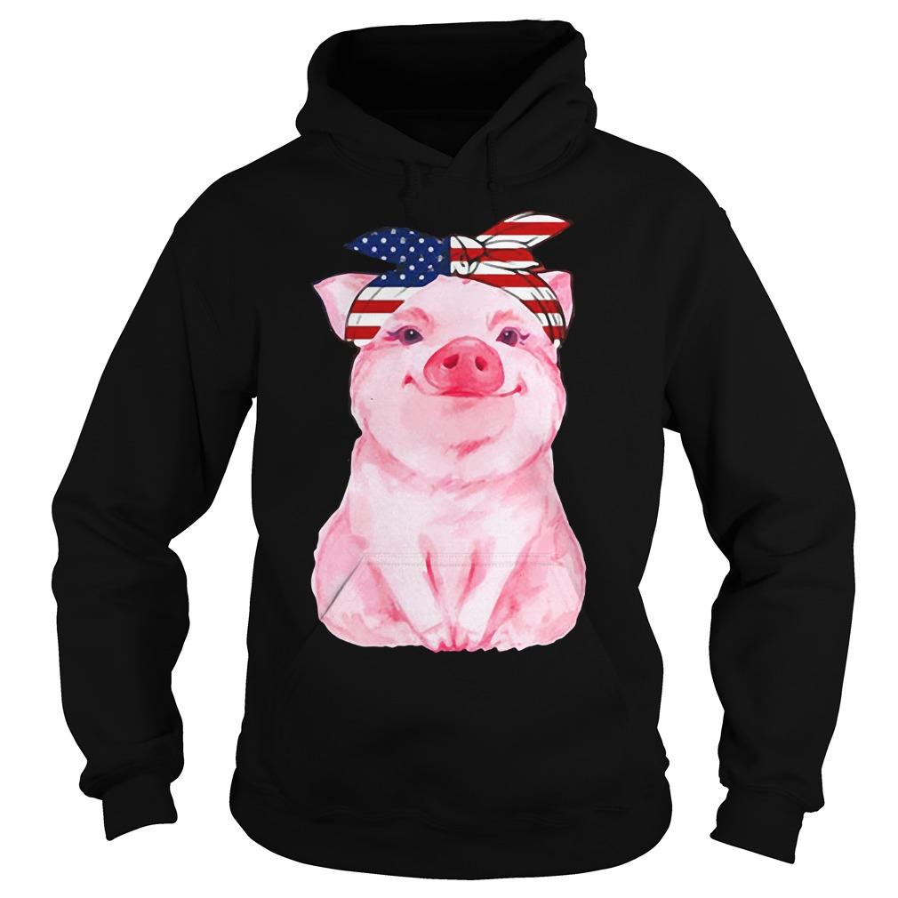 Pig bow head scarf American Flag Hoodie