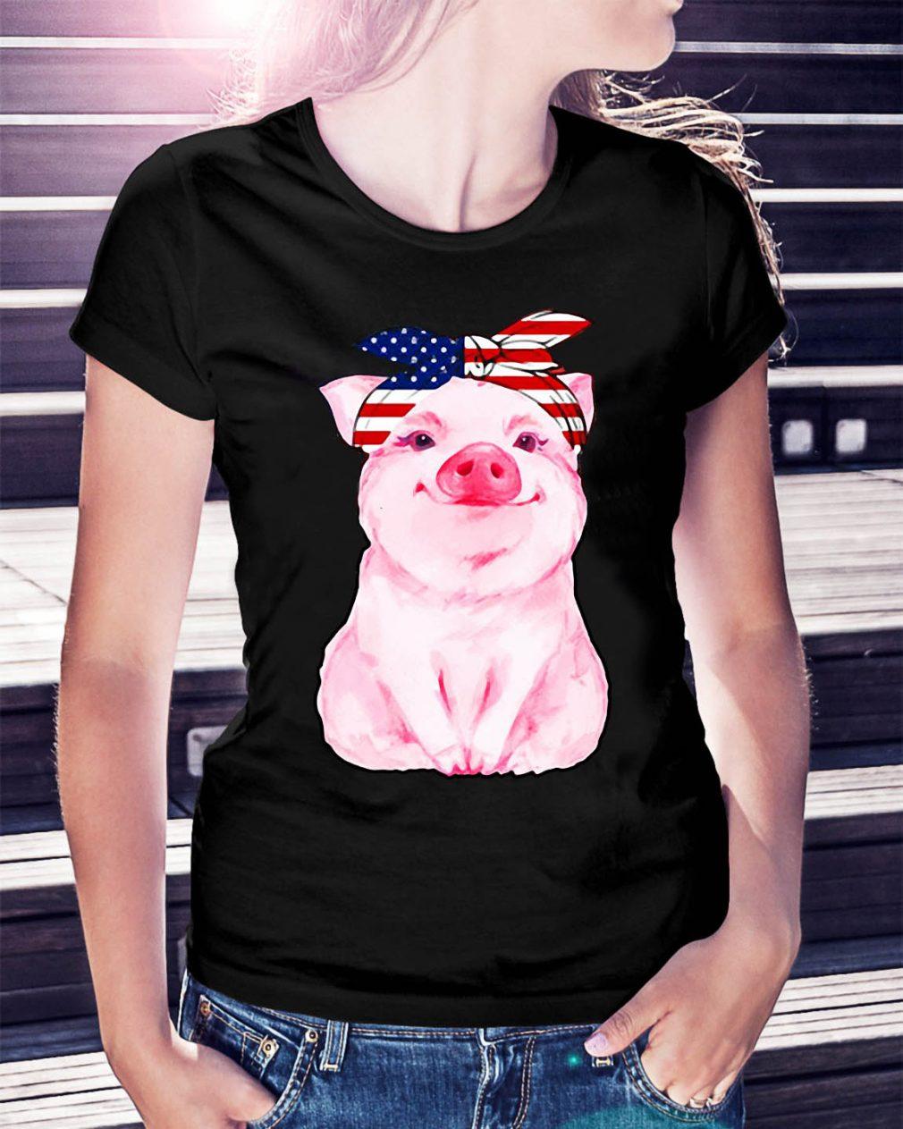 Pig bow head scarf American Flag shirt