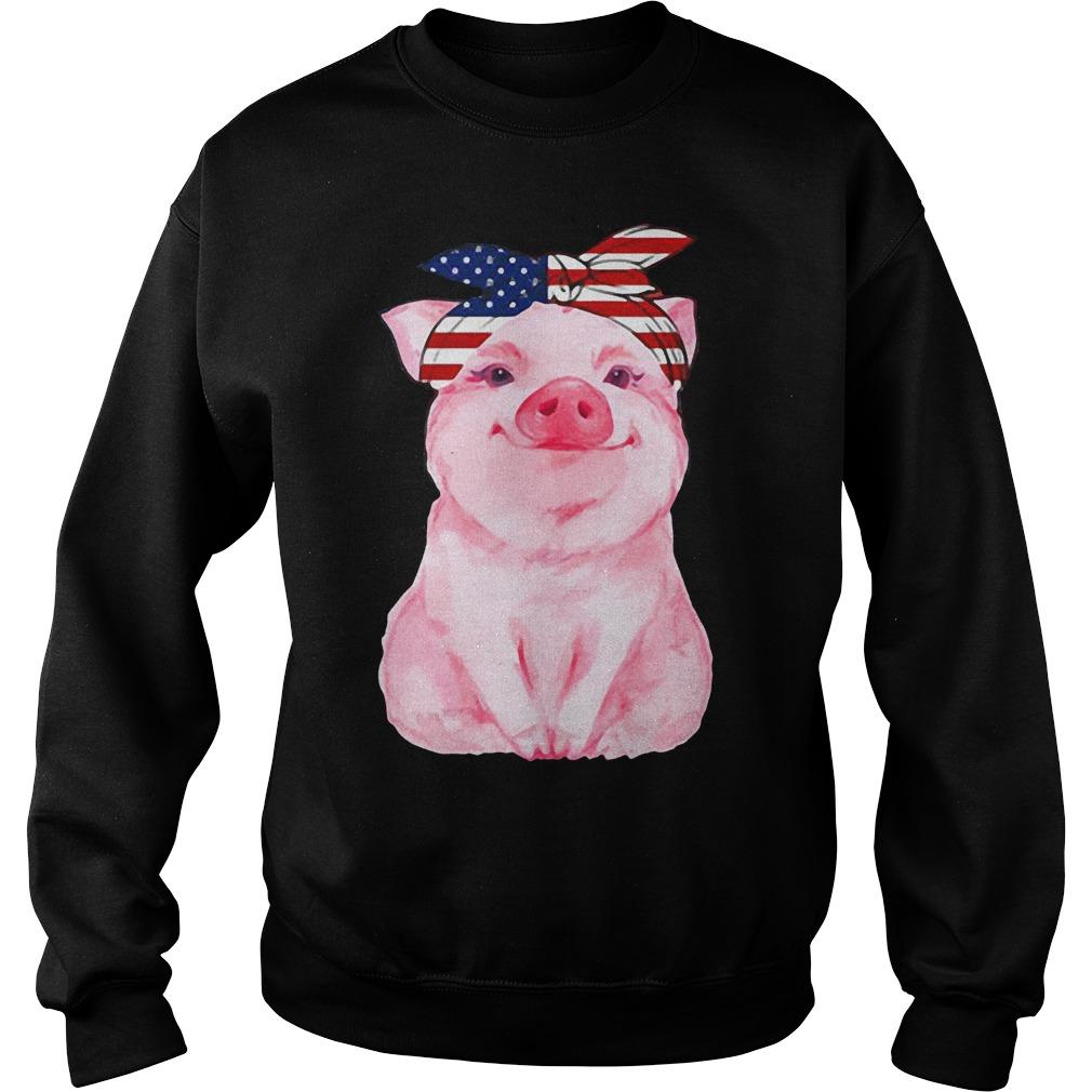 Pig bow head scarf American Flag Sweater
