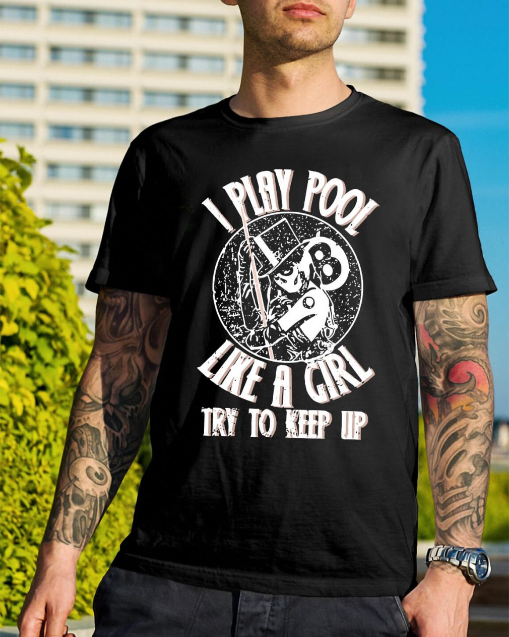 I play pool like a girl try to keep up V-neck T-shirt