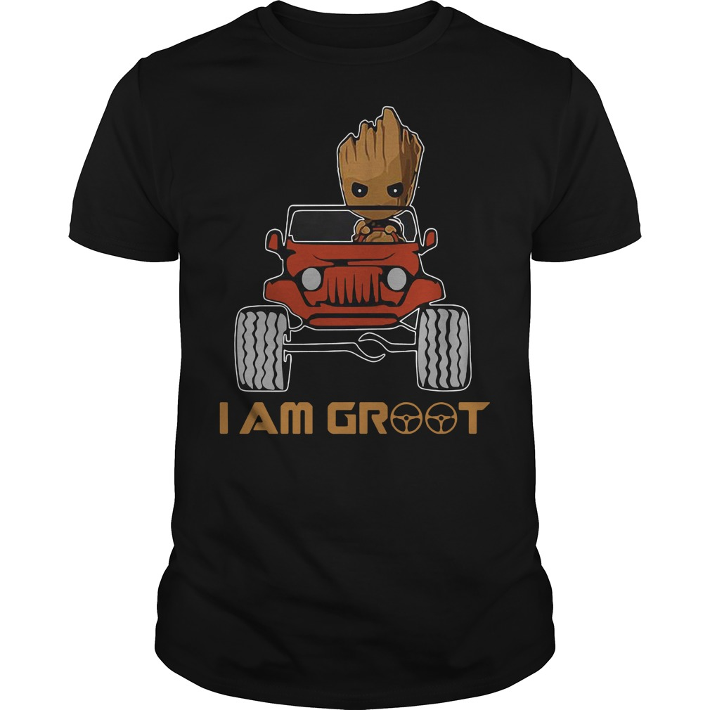Red jeep and Groot I am Groot Guys Shirt