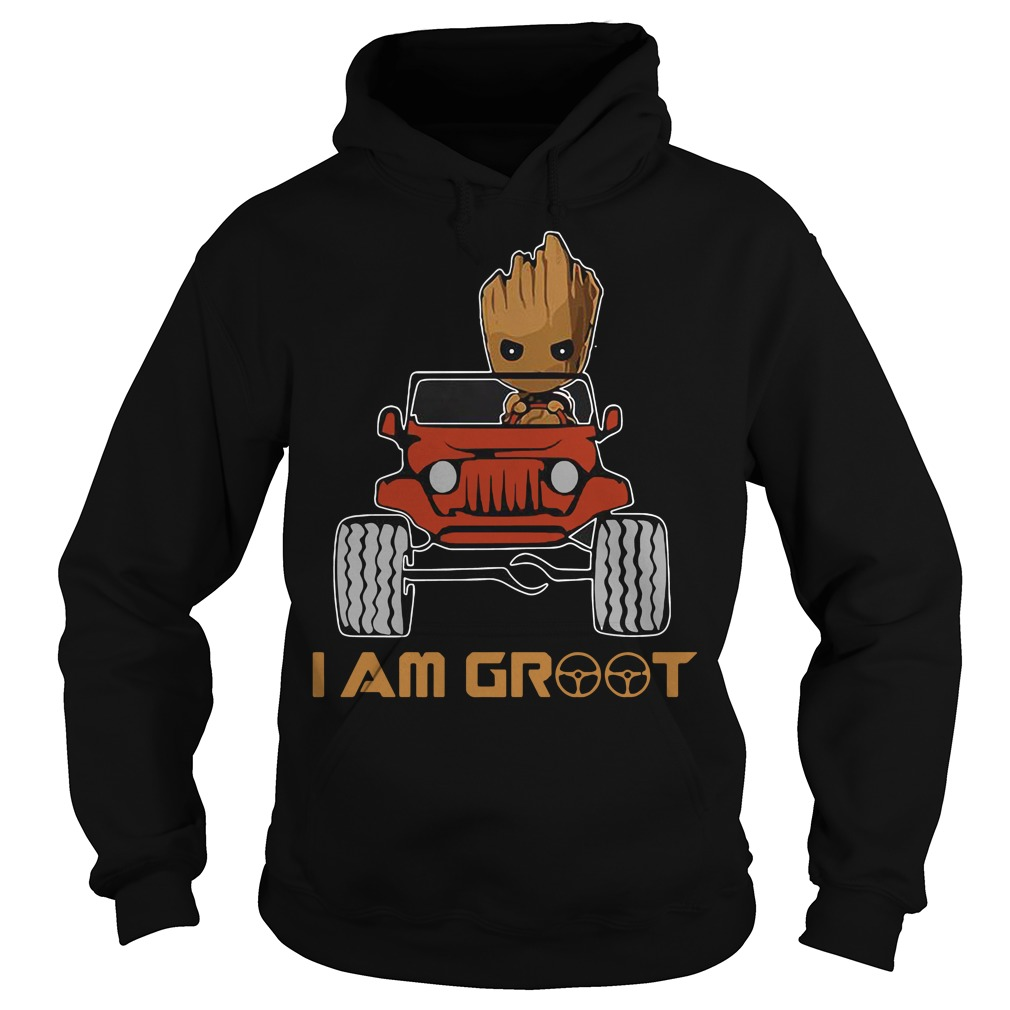 Red jeep and Groot I am Groot Hoodie