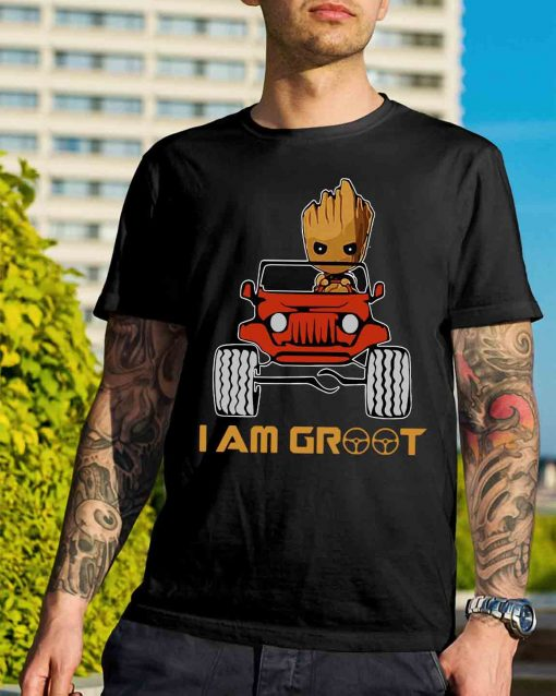 Red jeep and Groot I am Groot shirt