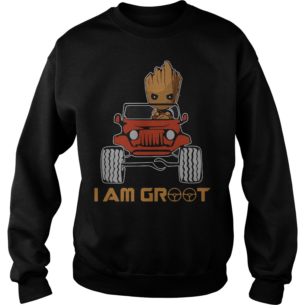 Red jeep and Groot I am Groot Sweater