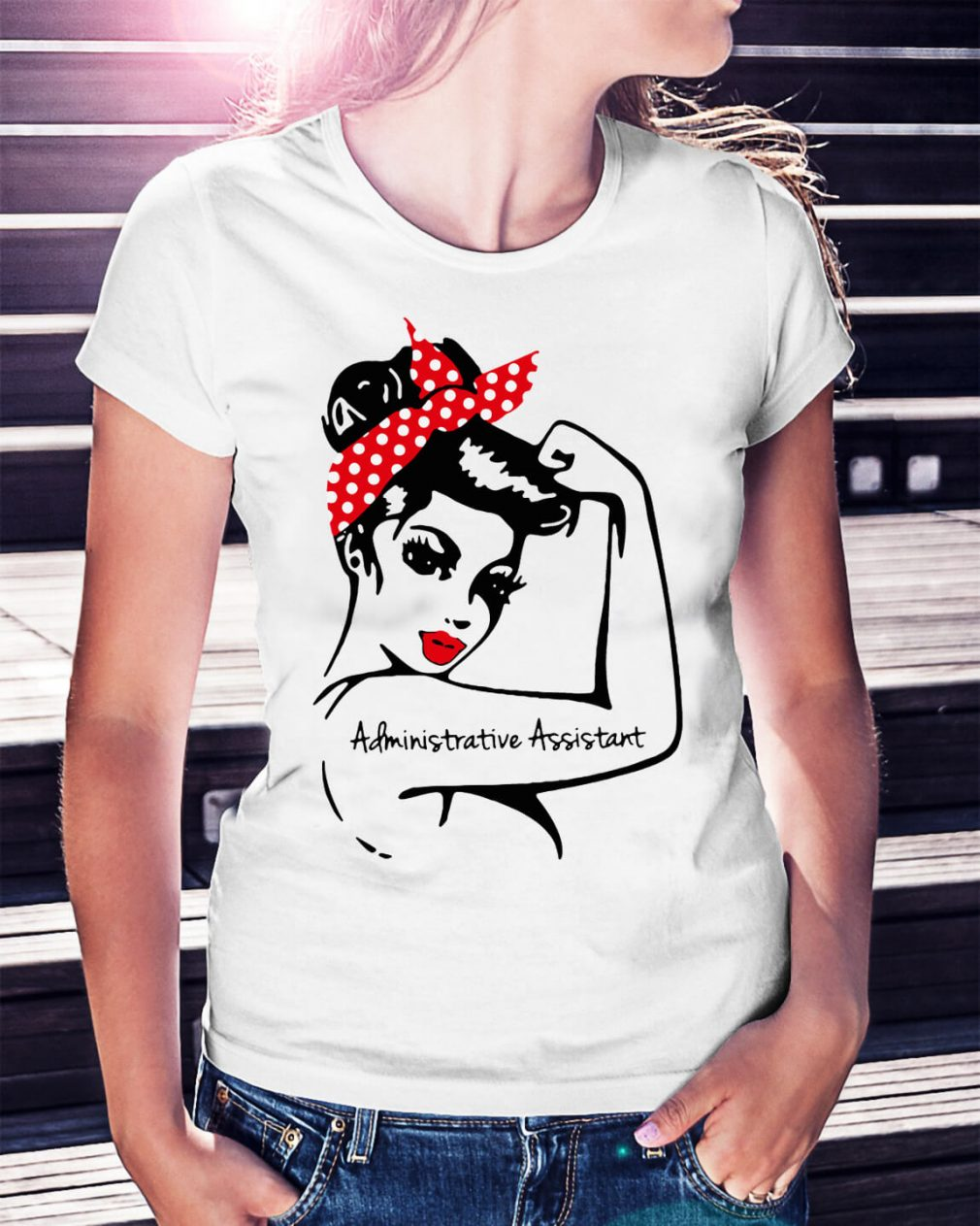 Rosie pin up breast cancer Administrative assistant shirt