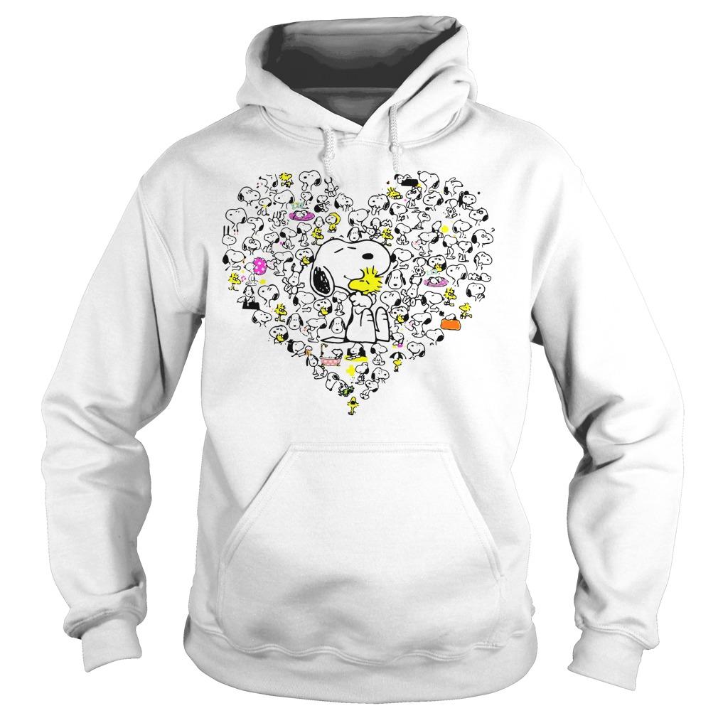 Snoopy hug Woodstock and hearts Hoodie
