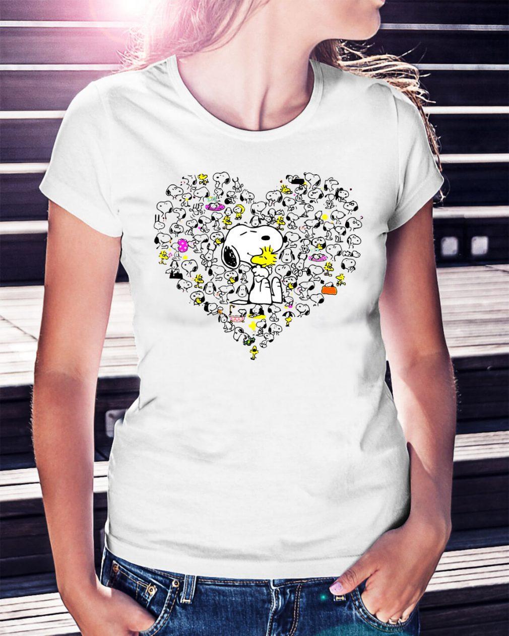 Snoopy hug Woodstock and hearts shirt