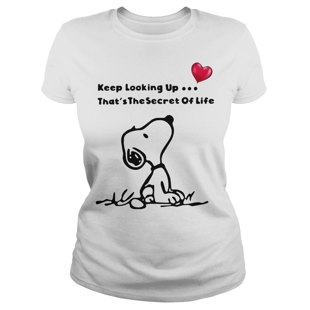 Snoopy keep looking up that's the secret of life Ladies Tee