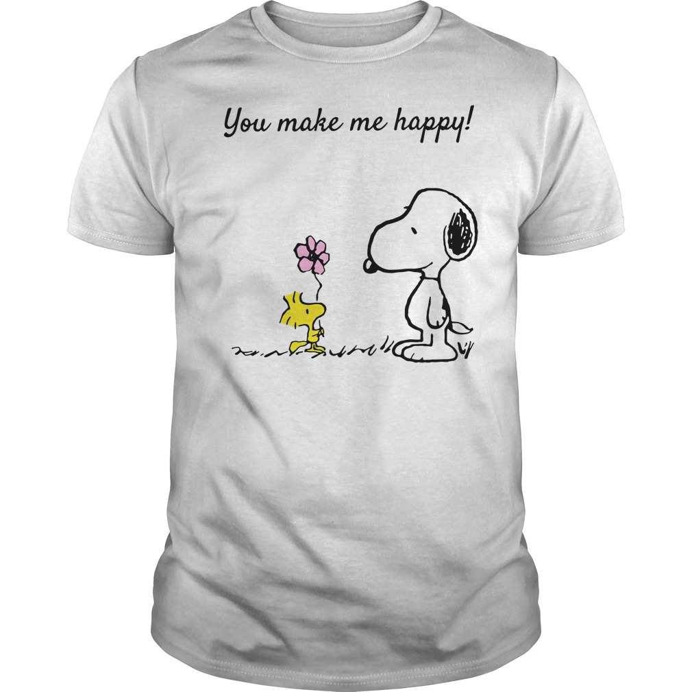 Snoopy and Woodstock you make me happy Guys Shirt