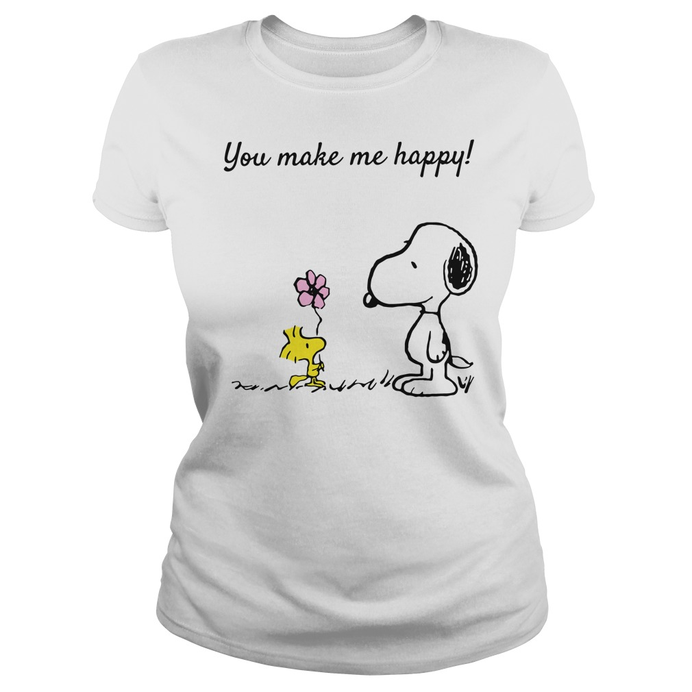 Snoopy and Woodstock you make me happy Ladies Tee