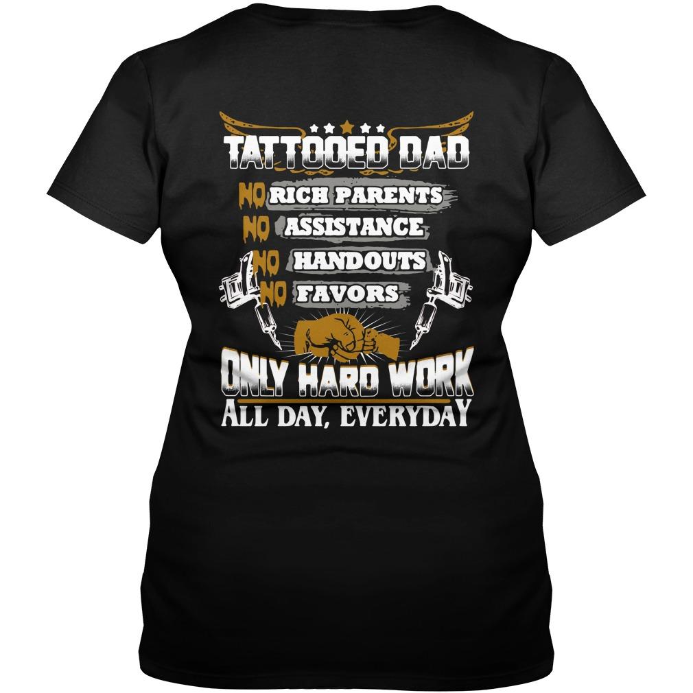 Tattooed dad no rick no assistance no handouts no favors V-neck T-shirt