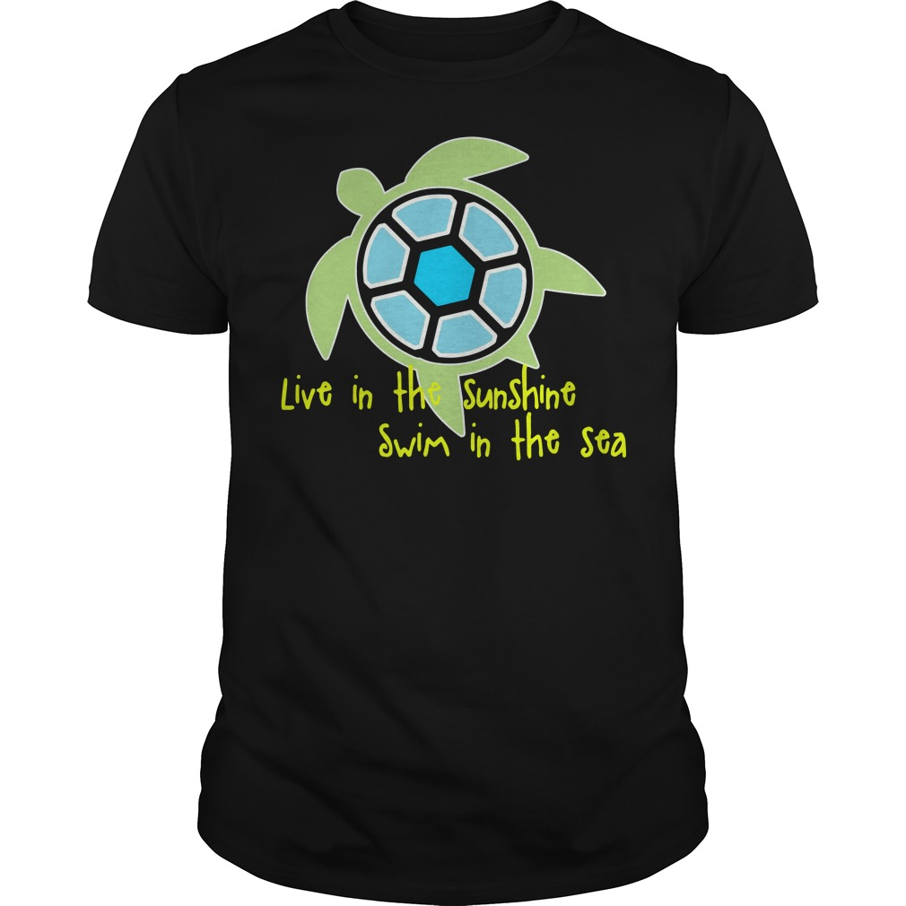 Turtle live in the sunshine swim in the sea Guys Shirt
