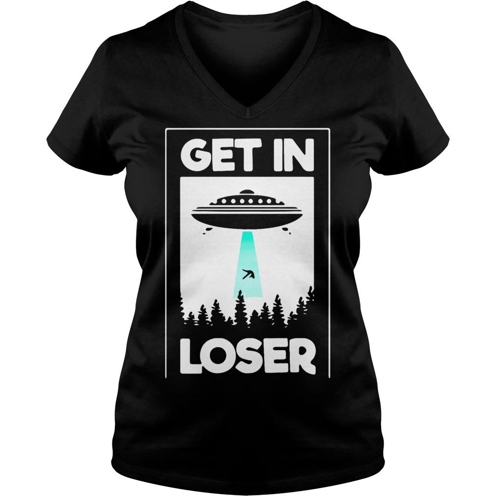 UFO get in loser V-neck T-shirt