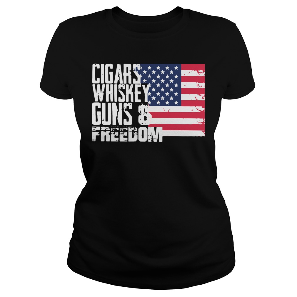 American Flag cigars whiskey guns and freedom Ladies Tee