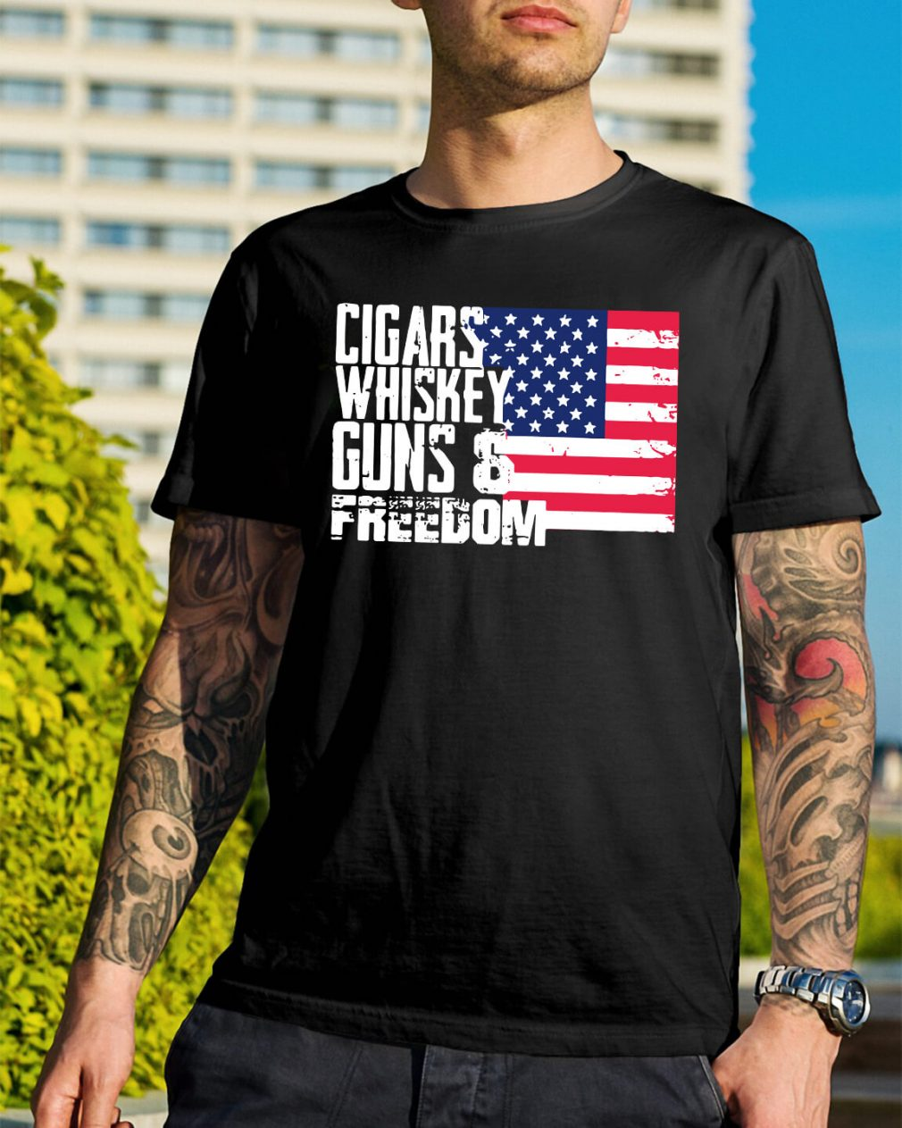 American Flag cigars whiskey guns and freedom shirt
