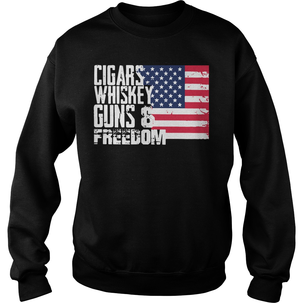 American Flag cigars whiskey guns and freedom Sweater