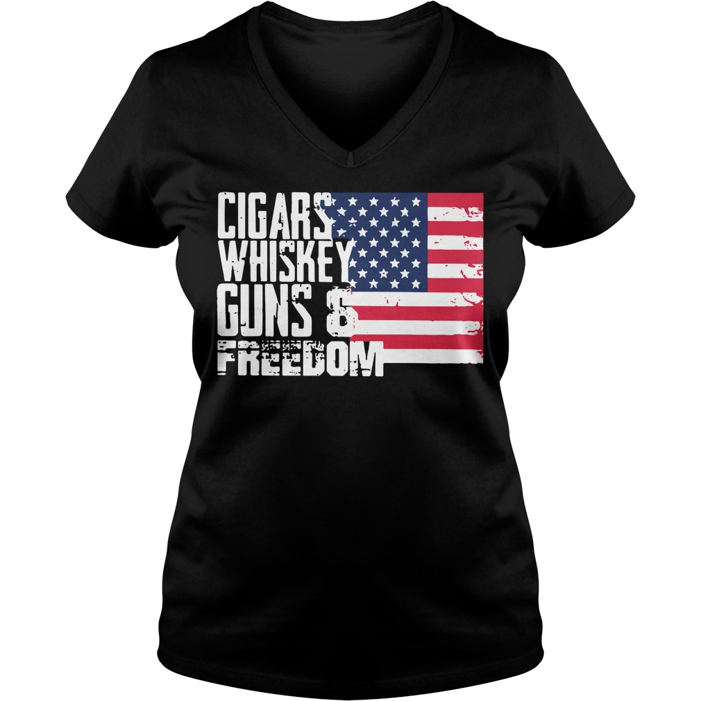 American Flag cigars whiskey guns and freedom V-neck T-shirt