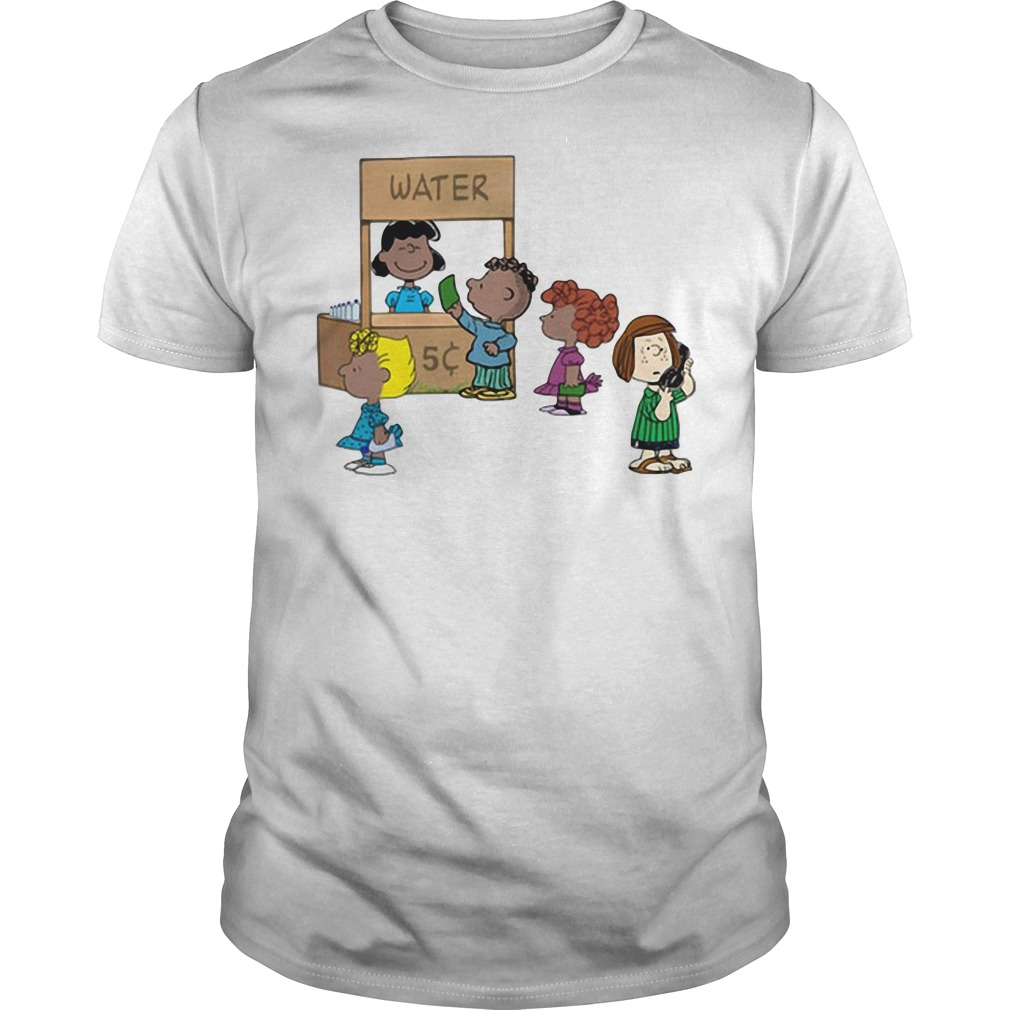 Calling police for selling water: Cute Peanuts funny permit patty Guys Shirt