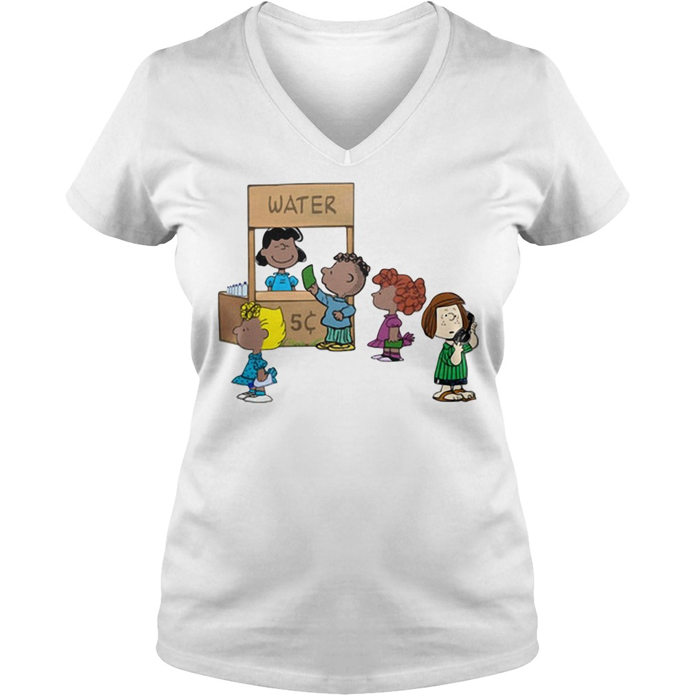 Calling police for selling water: Cute Peanuts funny permit patty V-neck T-shirt