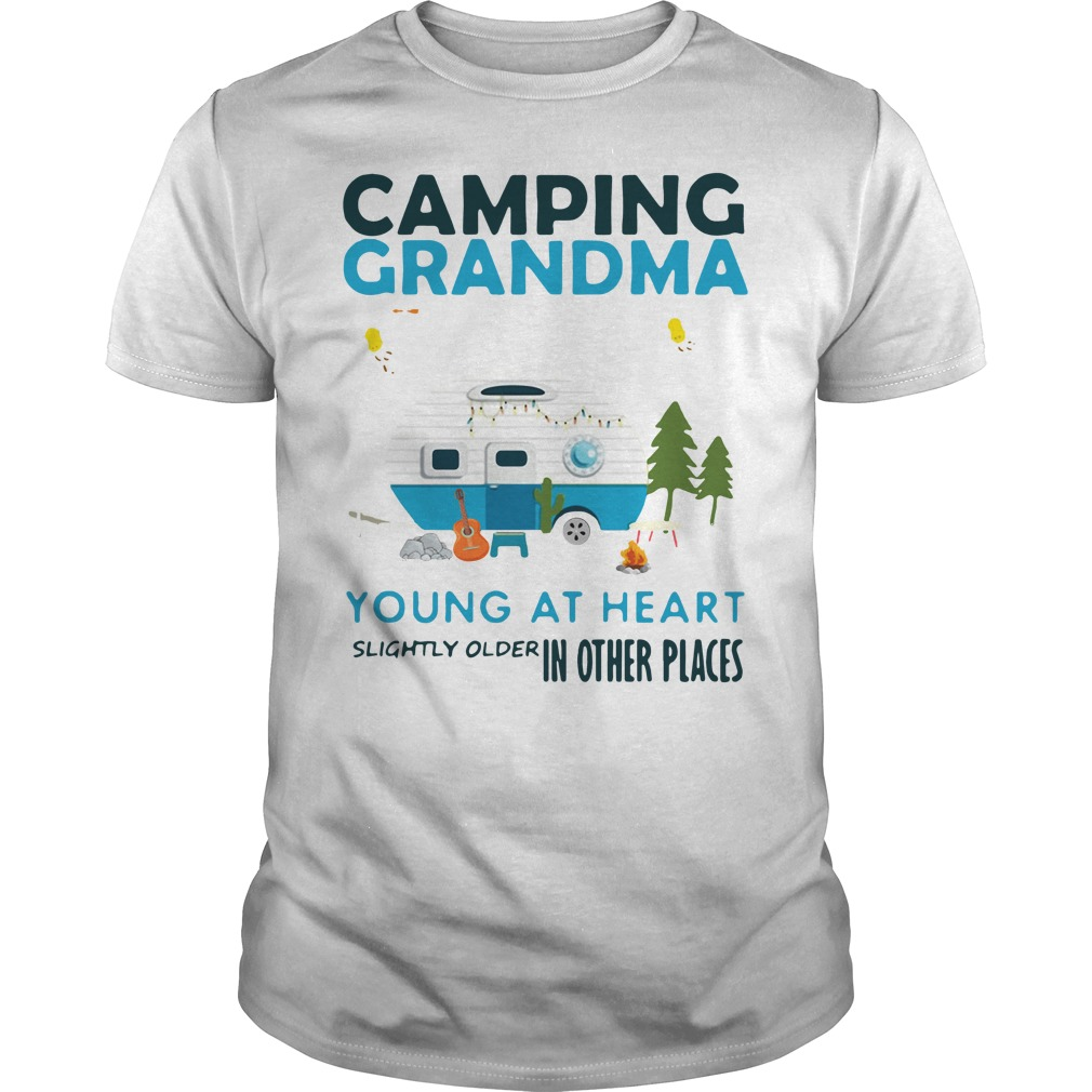 Camping grandma young at heart slightly older in other places Guys Shirt