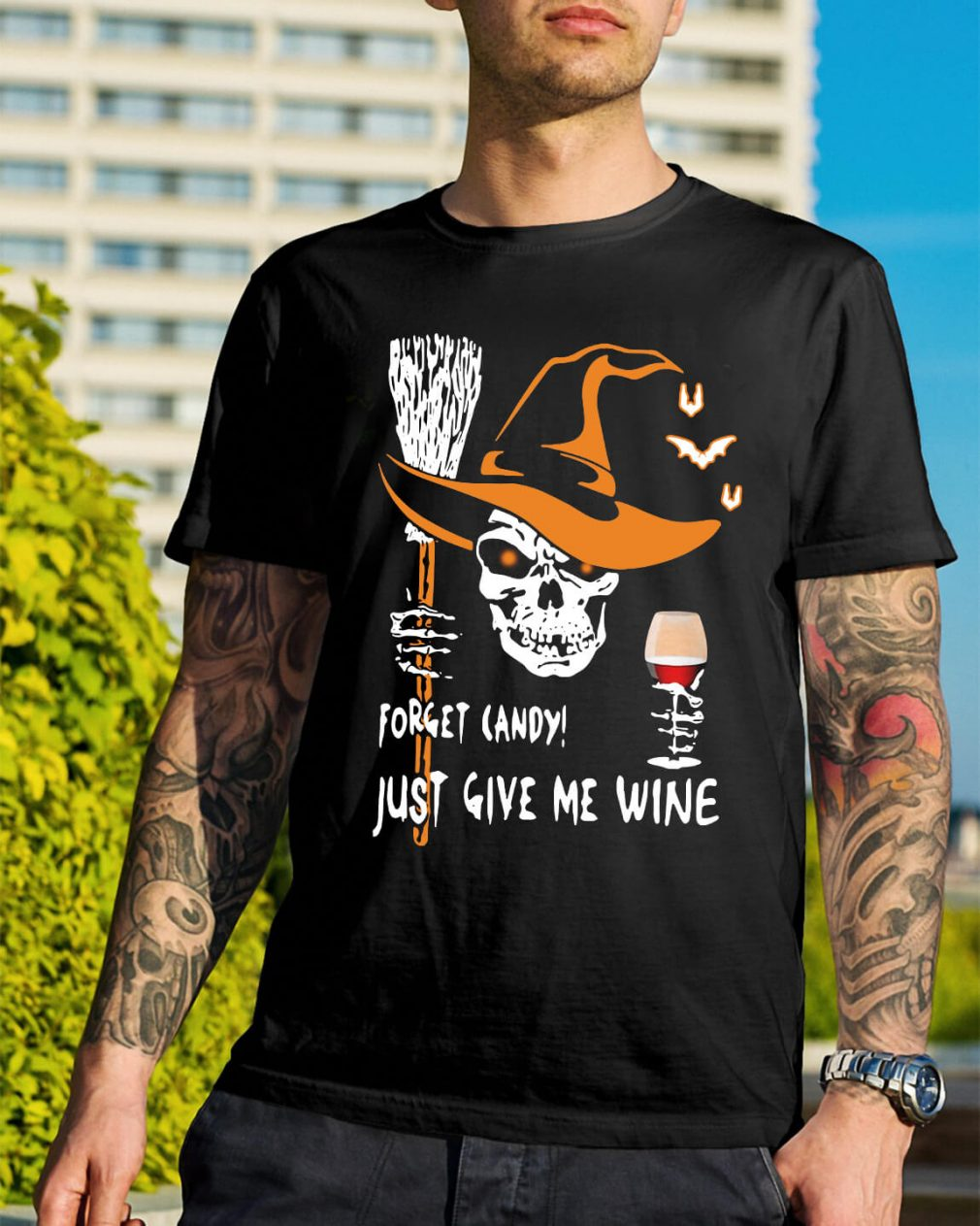Halloween forget candy just give me wine shirt