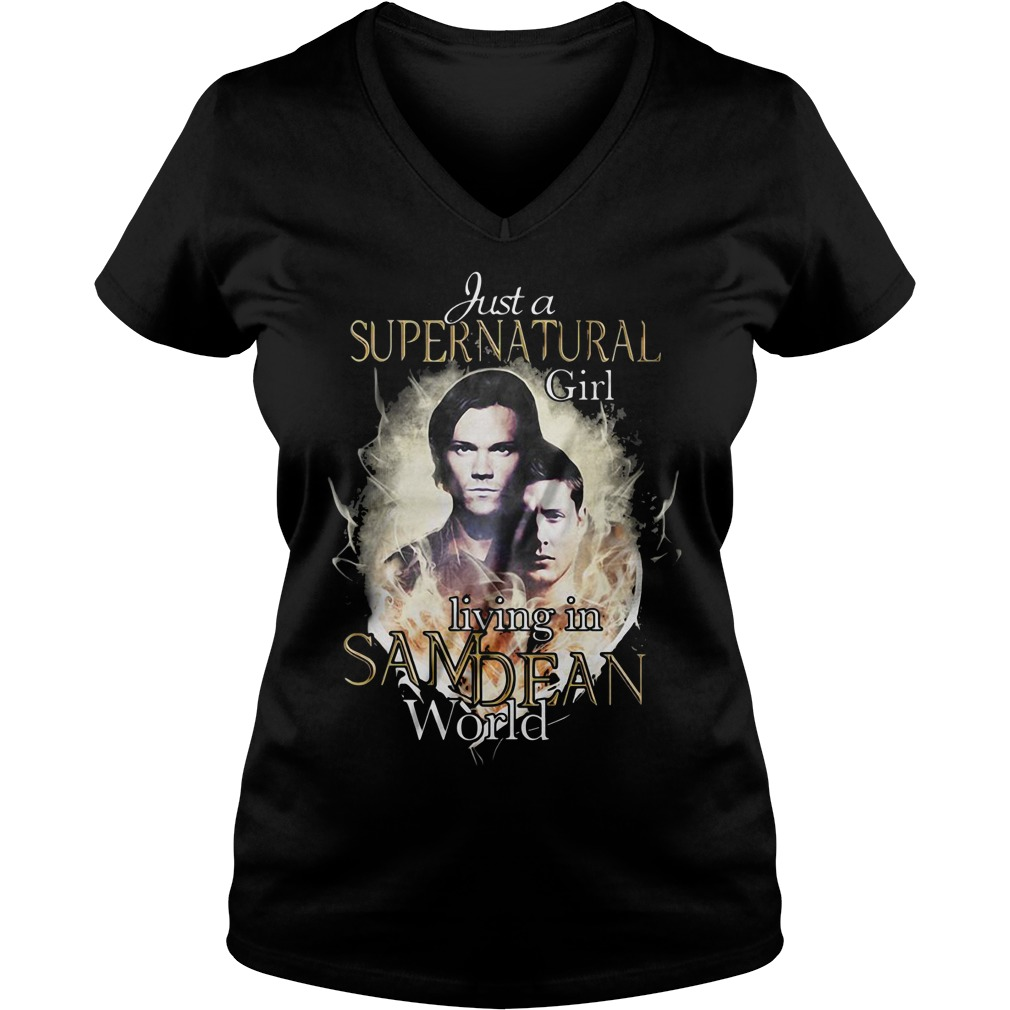 Just a supernatural girl living in Sam Dean world V-neck T-shirt