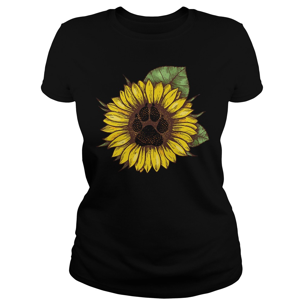 Paw dog sunflower Ladies Tee