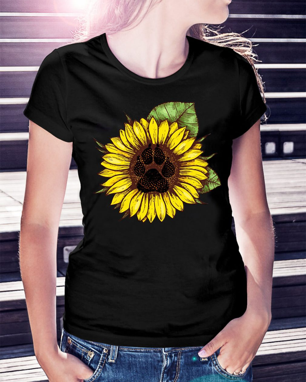 Paw dog sunflower shirt