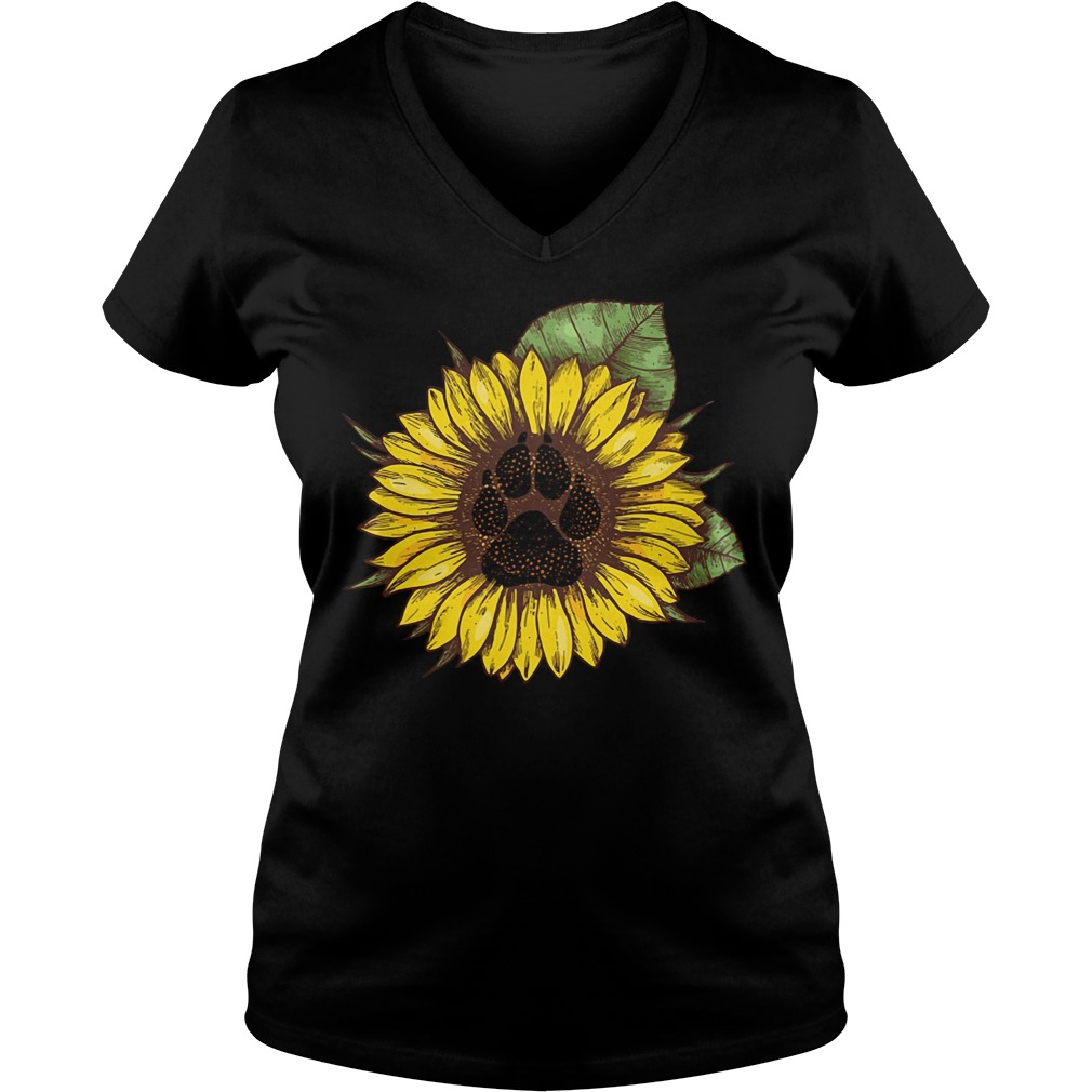 Paw dog sunflower V-neck T-shirt